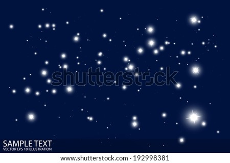 Glittering night stars vector background template - Vector blue shiny sparkles by night and dark background illustration - stock vector