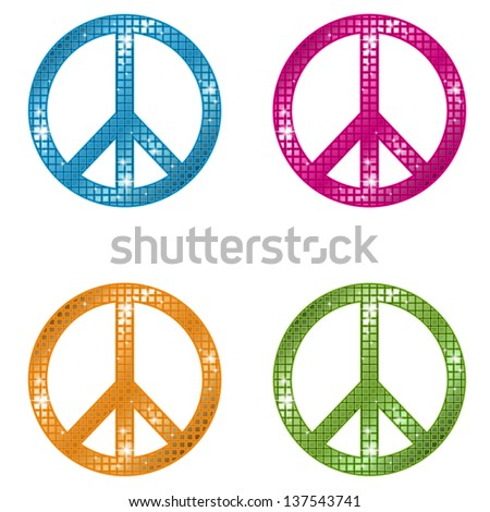 Glittering Peace Signs - stock vector