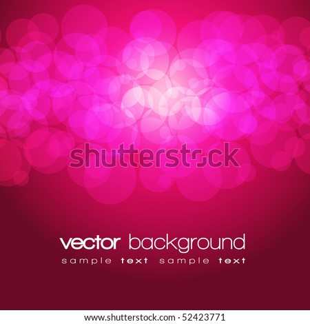 Glittering pink and purple lights background with text - vector - stock vector