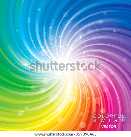 Glittering stars on colorful swirl background. - stock vector