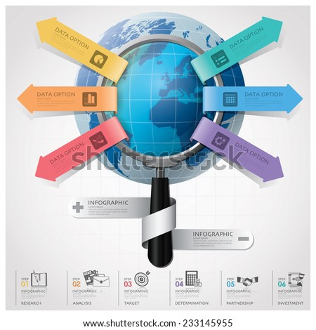 Global Business And Financial Infographic With Magnifying Glass Arrow Round Circle Diagram Design Template - stock vector