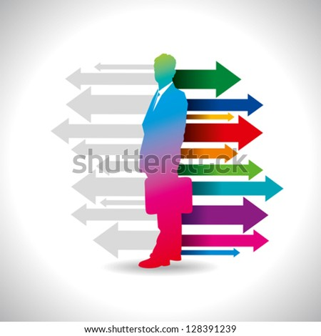 Global business arrow with businessman - stock vector