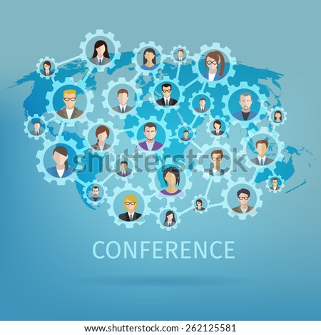 Global business conference concept with world map and people in gears connected vector illustration - stock vector