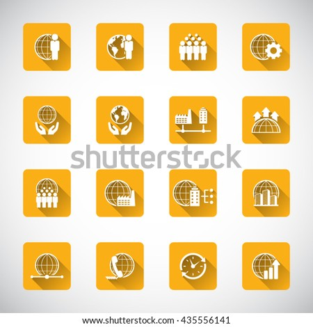 Global Business Icon set. - stock vector