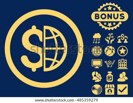 Global Business icon with bonus symbols. Vector illustration style is flat iconic symbols, yellow color, blue background.