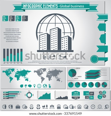 Global Business - infographic elements and Icon set - stock vector