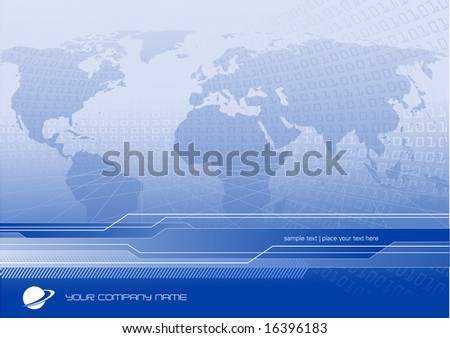 global business or communication background with world-map and binary code - customize with your own logo and text - stock vector