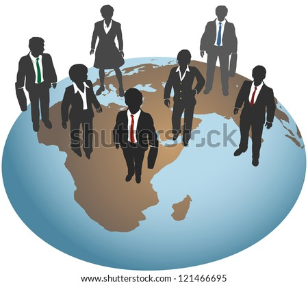 Global business team for international marketing and other work - stock vector