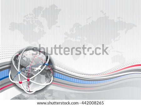 Global business travel abstract background with stripped silver pattern and world map. Realistic Earth globe icon and copy space for text. For tourism agency, communication,  other vacation designs - stock vector