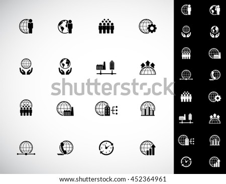 Global Business - vector Icon set - stock vector