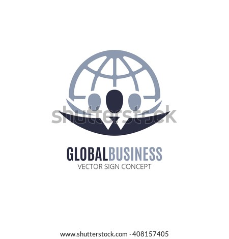 Global Business vector logo design template. Illustration with people silhouette and globe symbol. This logo could be used for successful businesses and service, social network, partnership, teamwork. - stock vector