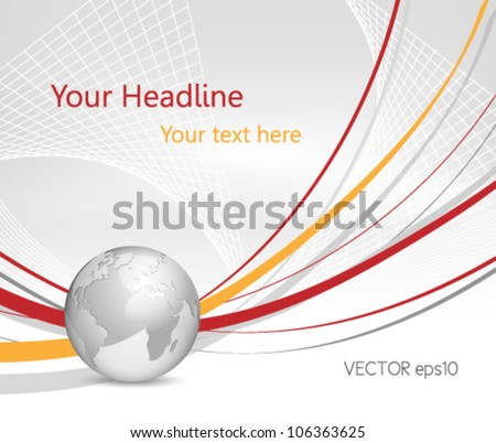 Global business world background with silver grey 3d globe and red lines - stock vector
