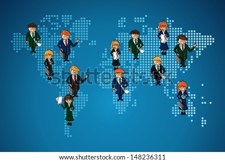 Global cloud computing teamwork business over world map. Vector file layered for easy manipulation and custom coloring.