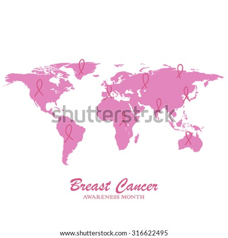 Global collaboration breast cancer awareness web banners: World map and triangle ribbon composition. - stock vector