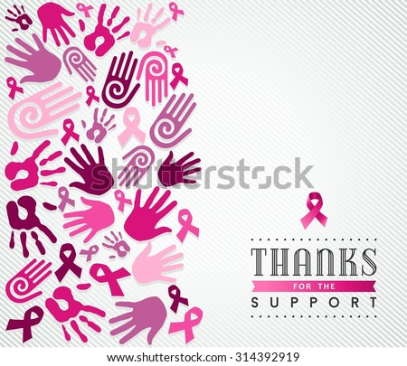 Global collaboration support concept illustration for breast cancer care. Hand and ribbon sign in pink colors. EPS10 vector file. - stock vector