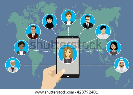 Global Communication between people using a smart phone ,flat design,vector illustration - stock vector