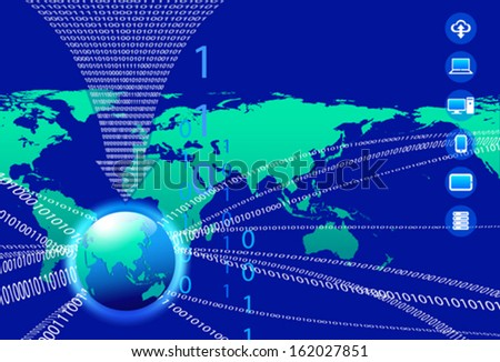 Global Communication Concept - Technology stream and globe with data arrow