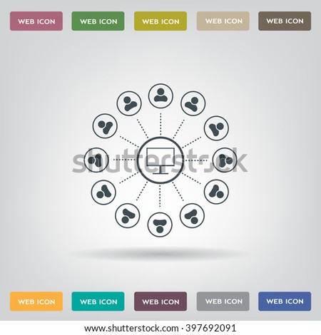 Global communication concept with flat icons. Vector illustration - stock vector