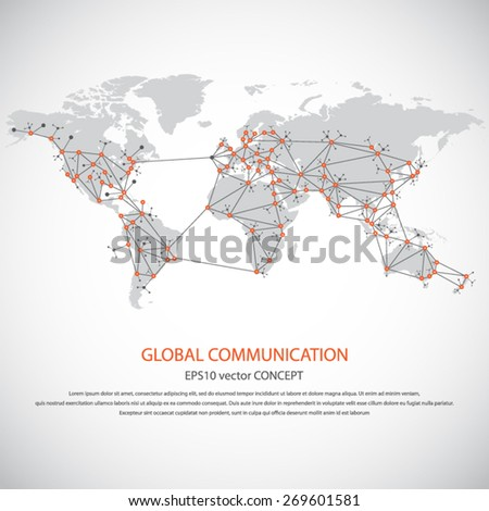 Global communication - EPS10 vector concept. All mayor - biggest cities of the world are pointed on detailed world map.. Masses of copy space for your text.Can be used in any project - stock vector