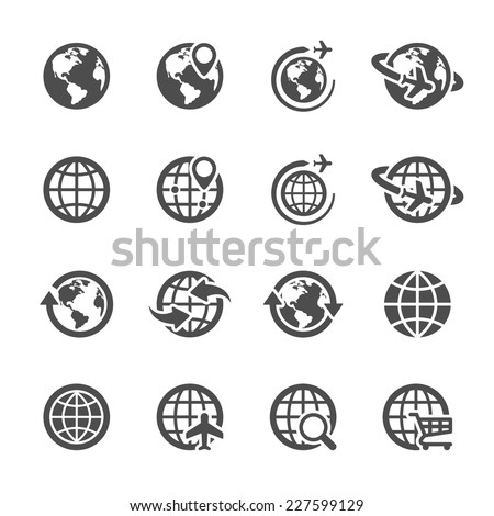 global communication icon set, vector eps10.