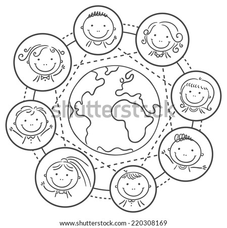 Global communication - kids round the globe, black and white - stock vector