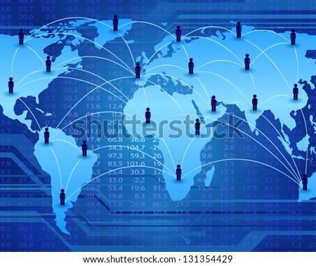 global communication network connecting people worldwide - stock vector