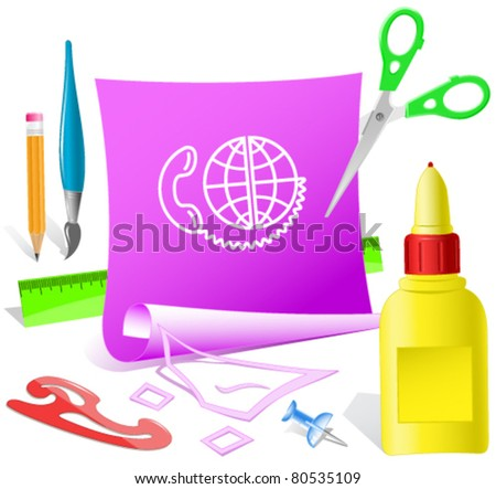 Global communication. Paper template. Raster illustration. - stock vector