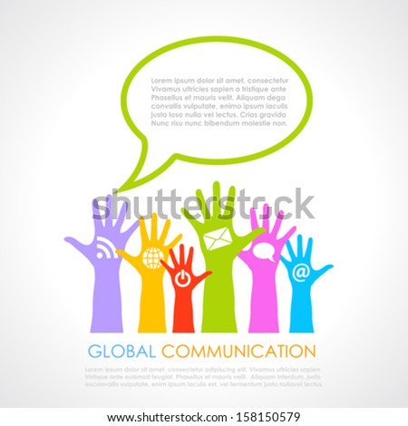 Global communication poster - stock vector