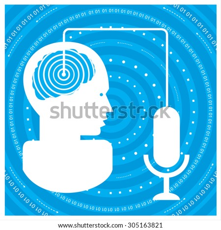 global communications silhouette of a man's head with a network. Concept of communication in the network