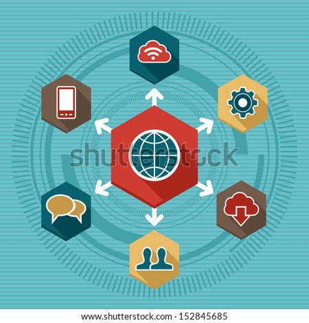 Global concept internet networking circle with flat icons illustration. EPS10 vector file organized in layers for easy editing. - stock vector