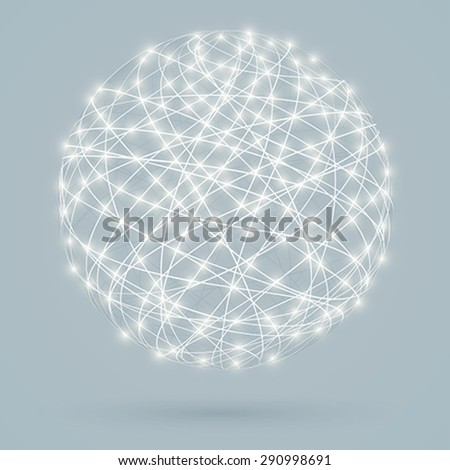 Global digital connections with glowing lights, network - stock vector