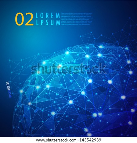 Global Digital mesh network, vector eps10 - stock vector