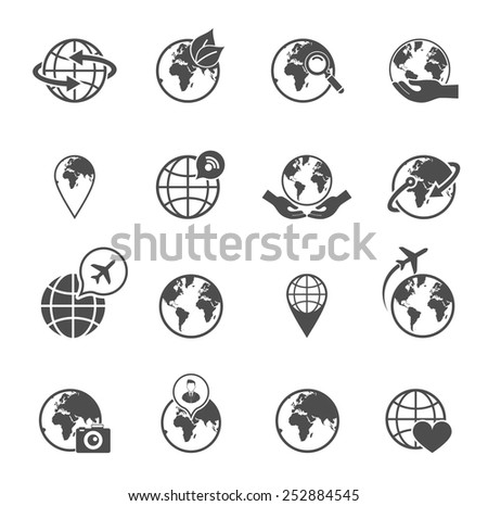 Global earth ecological travel symbols pictograms set with love saving planet hands black abstract isolated vector illustration - stock vector