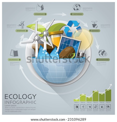 Global Ecology And Energy Infographic With Round Circle Diagram Design Template - stock vector