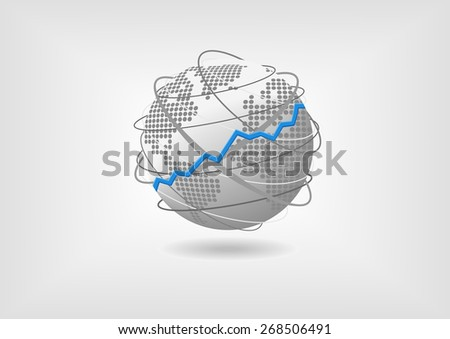 Global economic growth concept as vector illustration. Bullish prospering world economy represented by globe and world map with flat design.  - stock vector