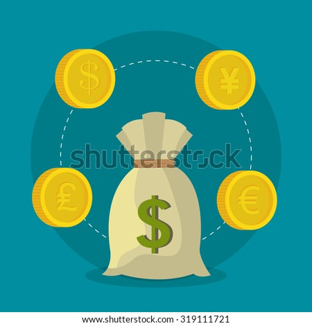 Global economy, money and business design, vector illustration - stock vector