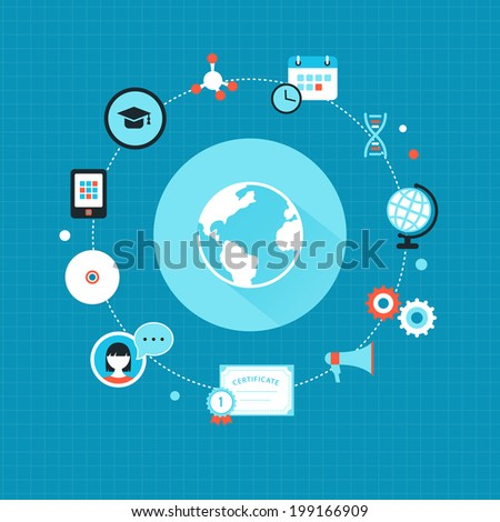 Global Education and Online Training Concept Icons  - stock vector