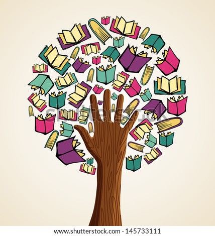 Global education concept hand tree books. Vector file layered for easy manipulation and custom coloring.