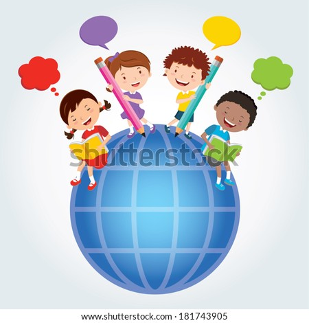 Global education. Vector illustration of diverse kids ...