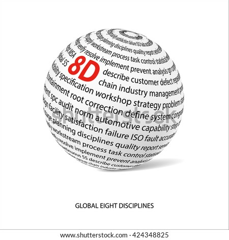 Global eight discipline word ball. White ball with main title 8D and filled by other words related with 8D method.  Industrial quality improvement. Customer satisfaction.Vector illustration - stock vector