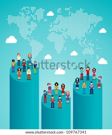 Global expansion stats of social network people with World map. Vector illustration layered for easy manipulation and custom coloring. - stock vector