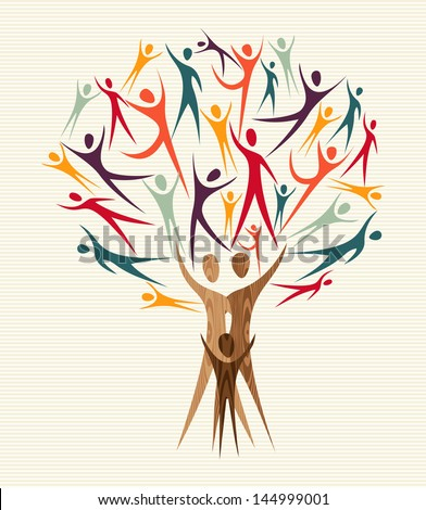 Global Family human shapes colorful concept design tree. Vector file layered for easy manipulation and custom coloring. - stock vector