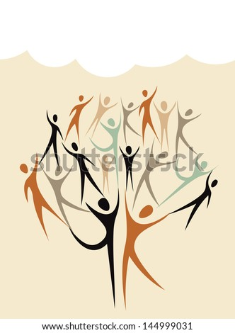 Global Family human shapes colorful  concept tree with cloud. Vector file layered for easy manipulation and custom coloring. - stock vector