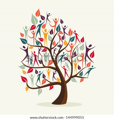 Global Family human shapes colorful leaf conceptual tree. Vector file layered for easy manipulation and custom coloring. - stock vector