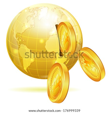 Global Financial Concept with Money Bitcoins and Earth, vector icon isolated on white - stock vector