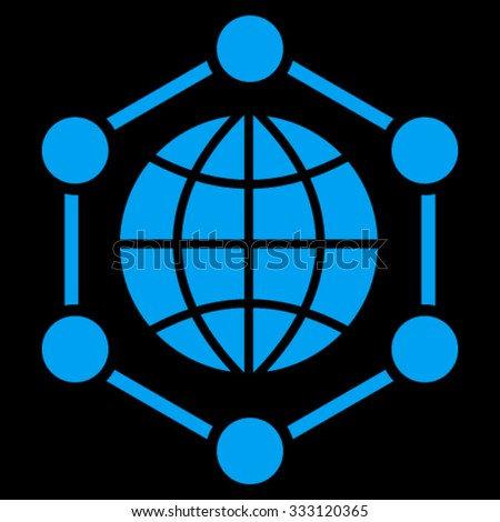 Global Frame vector icon. Style is flat symbol, blue color, rounded angles, black background.