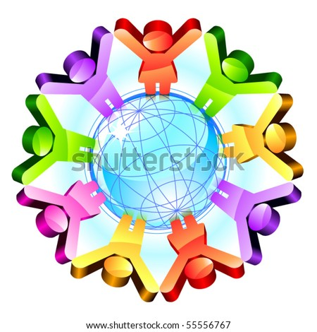 Global friendship concept. Vector - stock vector