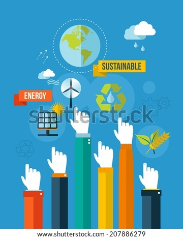 Global green environment and sustainable development hands with icons illustration background. EPS10 vector file organized in layers for easy editing. - stock vector