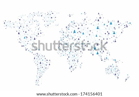 Global human connection on the white background - stock vector