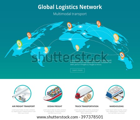 Global logistics network Web site concept Flat 3d isometric vector illustration Air cargo trucking rail transportation maritime shipping On-time delivery Vehicles designed to carry large numbers cargo - stock vector